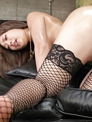 Aika Asian in fishnets has vibrators in crack and cock in mouth