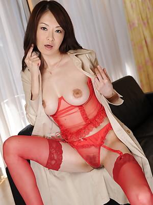 Sexy Machimura Sayoko shows big boobies in very kinky red lingerie.